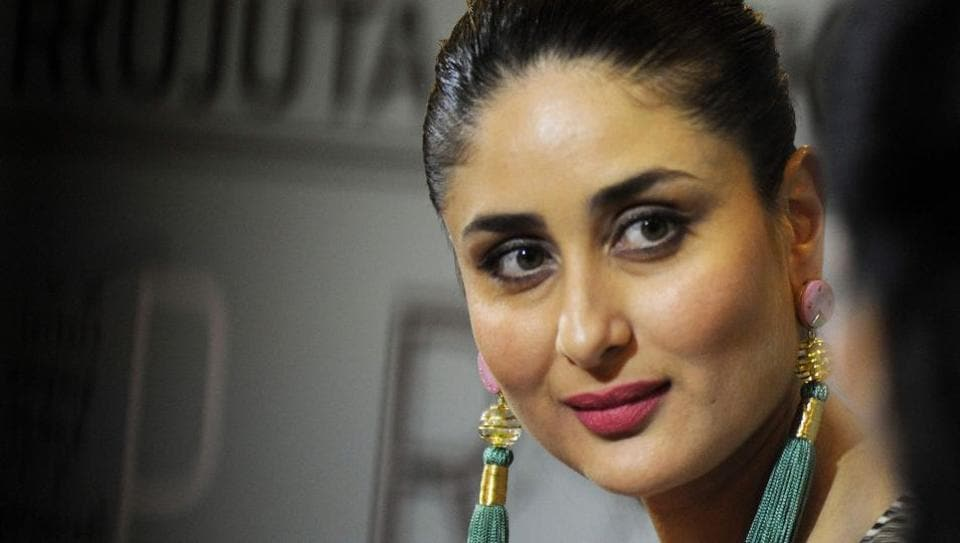 Kareena Kapoor Khan looks on during the launch of the book Pregnancy Notes before during & after by Rujuta Diweka  in Mumbai.