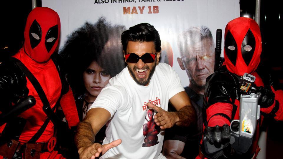 Ranveer Singh poses during the promotion of Deadpool 2 in Mumbai.