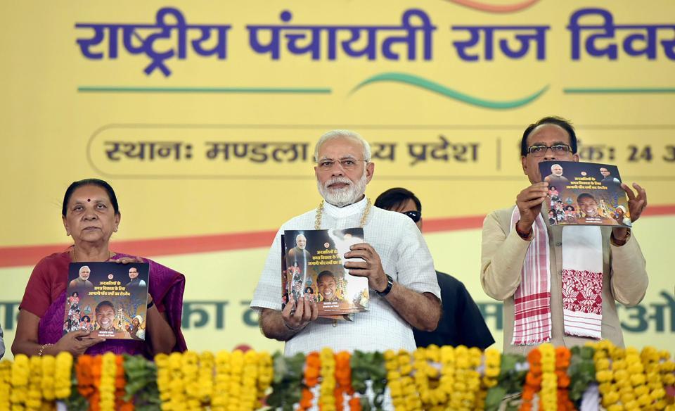 Prime Minister Narendra Modi during a book release at Mandla in Madhya Pradesh on April 24, 2018.