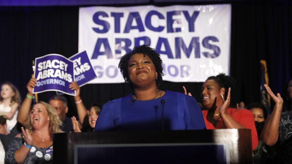 Georgia Democratic gubernatorial candidate Stacey Abrams speaks to supporters during an election-night watch party on Tuesday.
