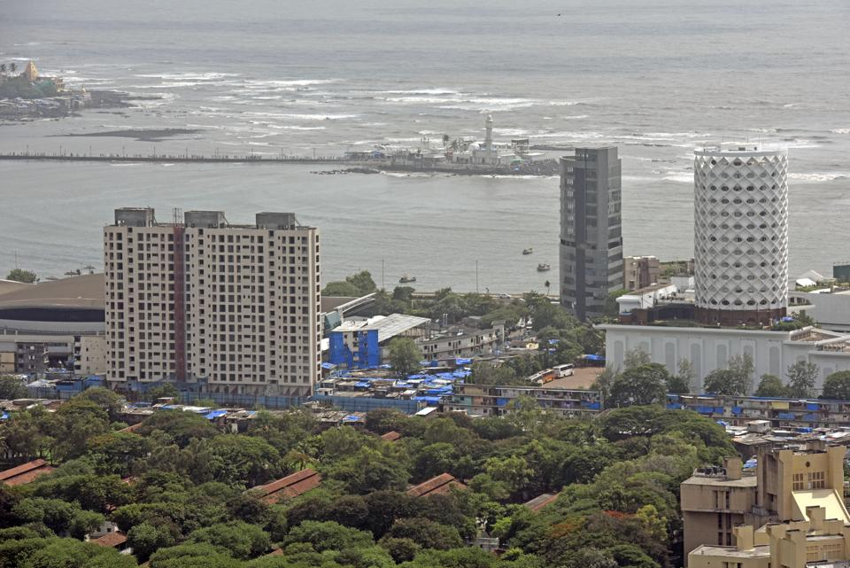 An aerial view of Mumbai from a high rise building in Lower Parel.