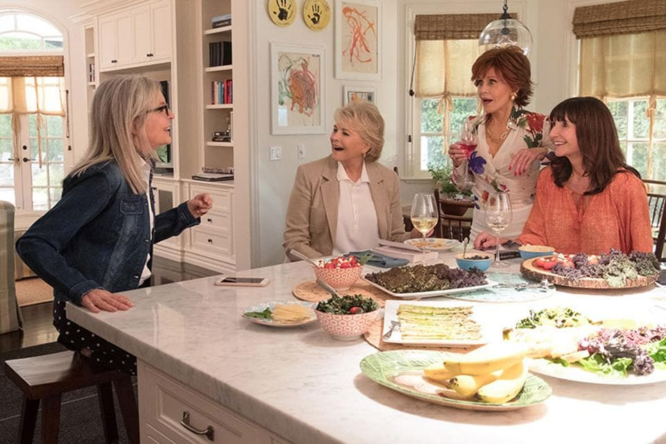 The four women meet regularly for an informal book club. There's a rebel with an old flame, a recent widow with a much younger man, a frustrated housewife and a divorcee dating online. The whole thing is painfully banal and predictable.