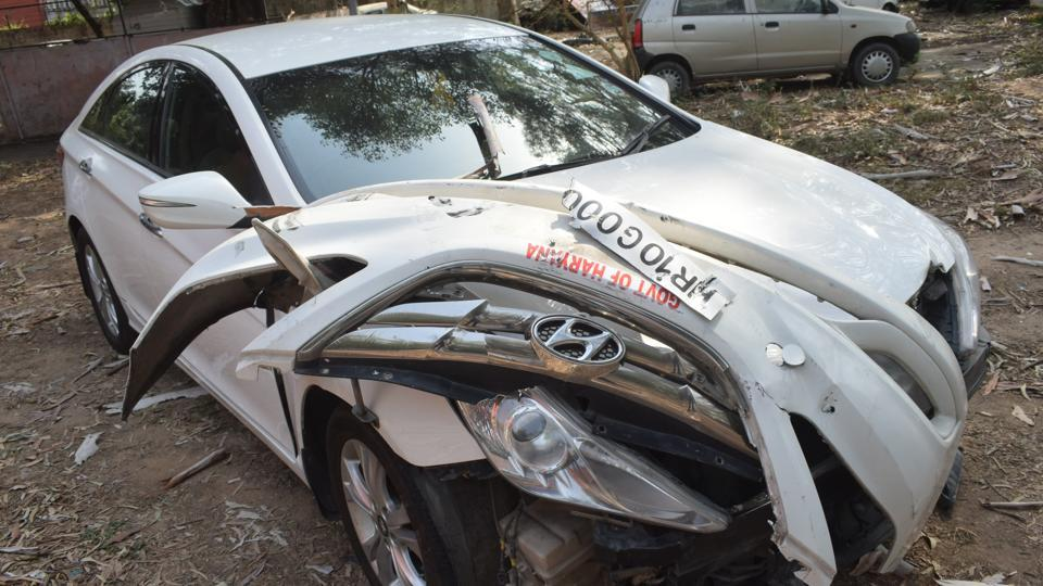 The damaged car belonging to Dhruv Majumdar that hit Satnam Singh near Sector 3/4 roundabout late on Tuesday night.
