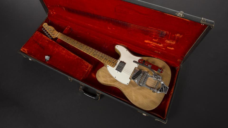 "The 1965 Fender Telecaster that Dylan played during his infamous ""Going Electric"" tour where he played live with a backing band for the first time is emblematic of the body of work created in the mid-1960s. Bringing It All Back Home, Highway 61 Revisited and Blonde on Blonde remain achievements of cultural synthesis drawing on folk, rock and roll, R&B as well as beat and modernist poetry, ad lingo and social commentary. (Julien's Auctions)"