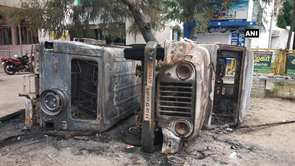 A vehicle set ablaze during anti- Sterlite Protests in Thoothukudi.