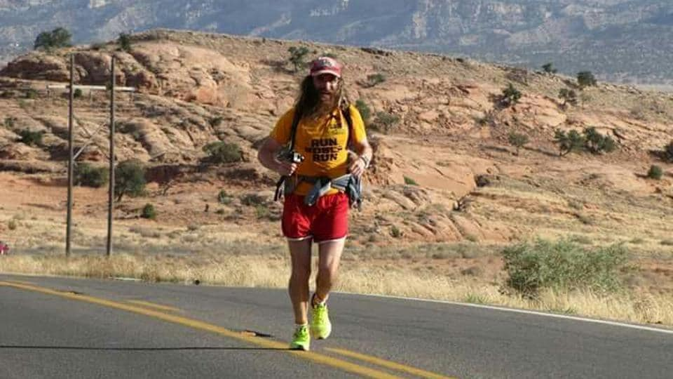 According to Rob Pope's estimate, he has been running 37 miles a day and taken 24 million steps.