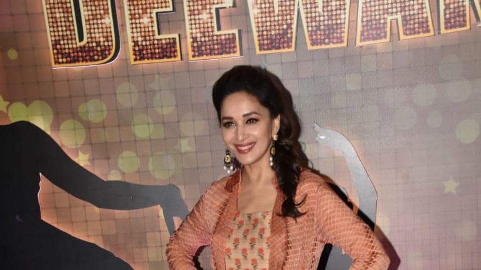 Madhuri Dixit looks glamourous at the launch of Dance Deewane.