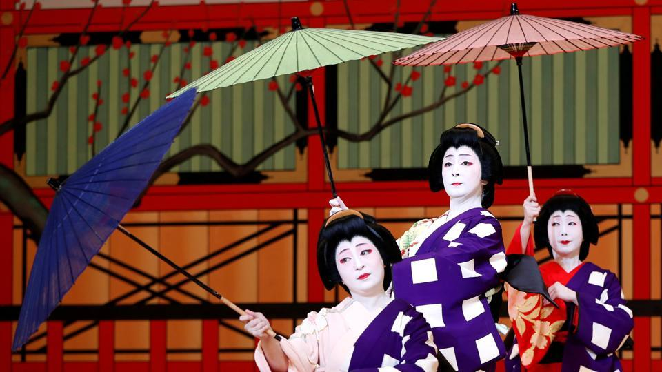 Geishas, traditional Japanese female entertainers, perform their dance during a preview of the annual Azuma Odori Dance Festival at the Shinbashi Enbujo Theater in Tokyo, Japan. (Issei Kato / REUTERS)