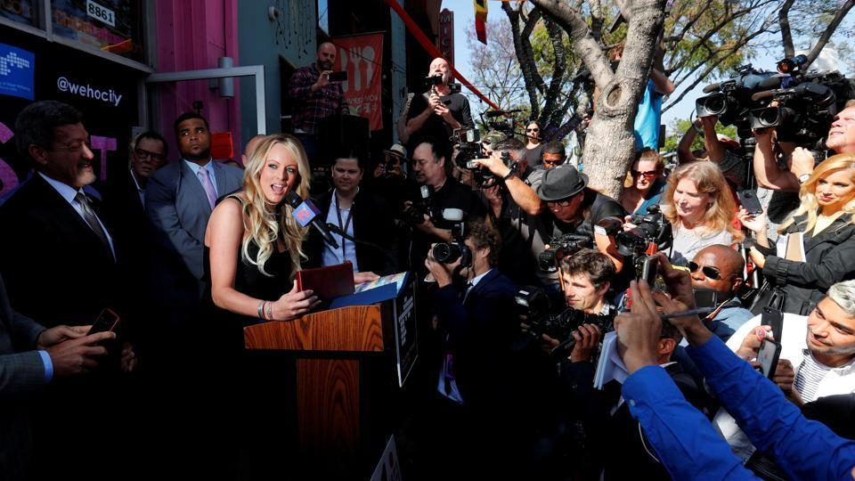 Stormy Daniels, the adult film star currently in legal battles with US President Donald Trump, speaks during a ceremony awarding her the key to West Hollywood in California. (Mike Blake / REUTERS)