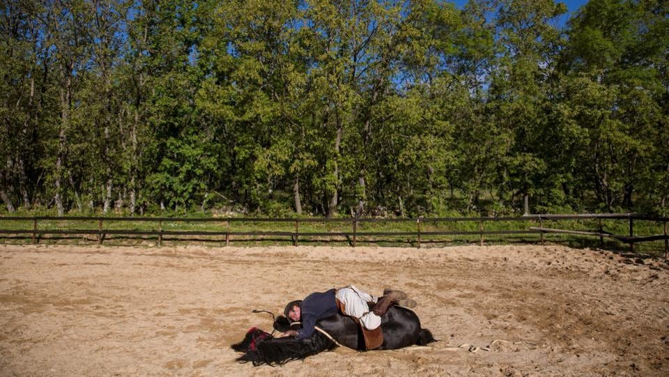 Noailles lays on top of Madrid in Guadal. This emotional therapy consists of monitoring how the horse responds to the client's moods. From watching the horse's reaction, the client learns how to identify and control their own emotions. (Juan Medina / REUTERS)