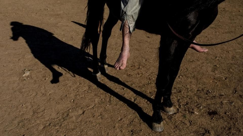 The 57-year-old likens his horses to his clients, explaining that people in the first session, when they are in a difficult state of mind, see a horse that doesn't stop, that moves, that even gallops. The horse embodies a mind that doesn't stop, that is tormented. (Juan Medina / REUTERS)