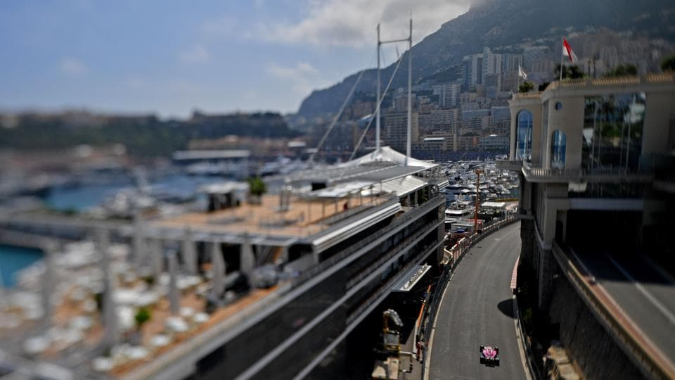 A tilt-shift lens image shows Force India's French driver Esteban Ocon driving during the second practice session at the Monaco street circuit in Monaco, ahead of the Monaco Formula 1 Grand Prix. (Andrej Isakovic / AFP)