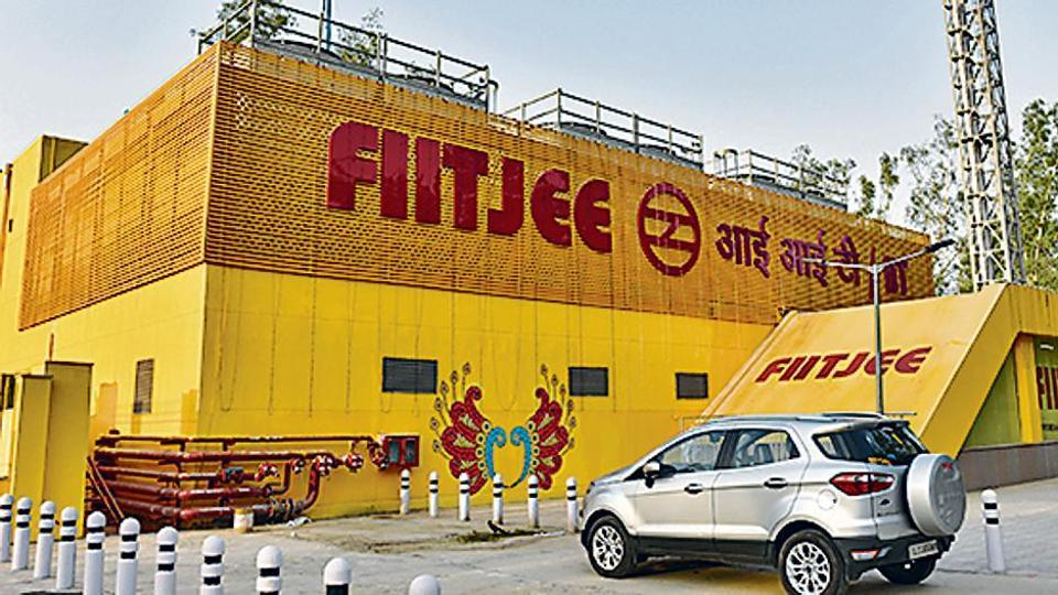 A general view of IIT Metro station displaying the name of FIIT JEE in New Delhi, India, on May 26.
