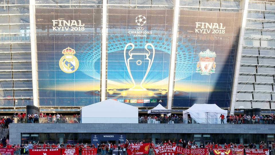 General view outside the stadium ahead of the UEFAChampions League final between Liverpool FC and Real Madrid. (REUTERS)