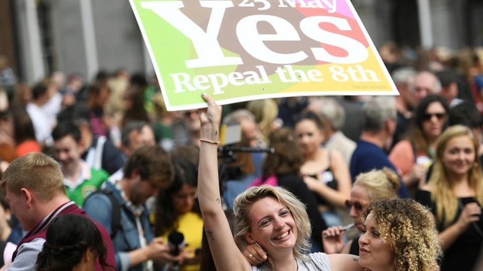 Women celebrate the result of the referendum on liberalizing abortion law, in Dublin, Ireland, May 26, 2018.