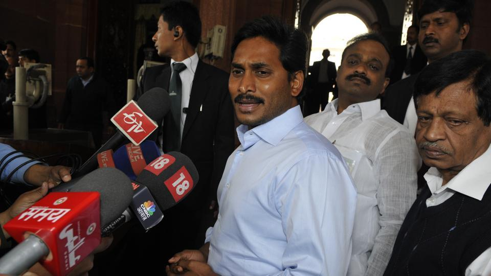 YSR Congress President YS Jaganmohan Reddy talking with media person after the bill for separate Telangana state passed in Lok Sabha at Parliament house in New Delhi.