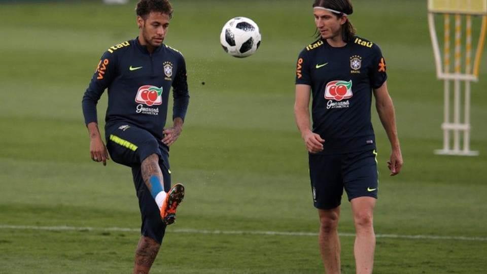 Brazil national football team members Neymar and Felipe Luis train in Brazil before the start of 2018 FIFA World Cup in Russia. (REUTERS)