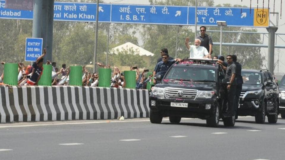 Prime Minister Narendra Modi holds a roadshow after inaugurating the Delhi-Meerut Expressway, in New Delhi.
