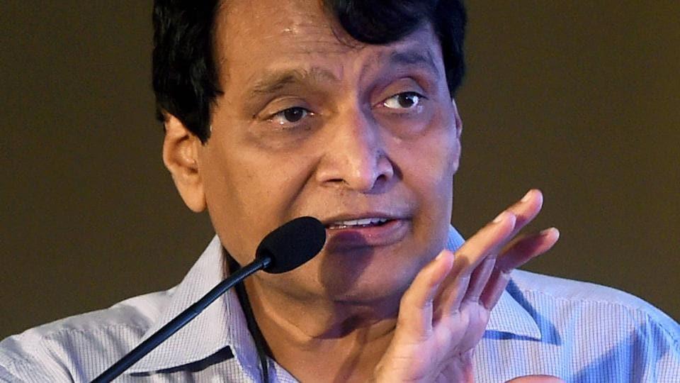 Suresh Prabhu speaks during a summit in Mumbai.