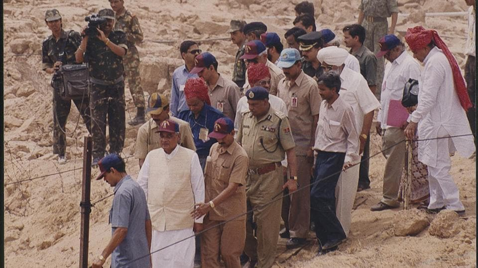 Atal Bihari Vajpayee, visited the underground Nuclear Explosion test sites at Pokhran in Rajasthan.