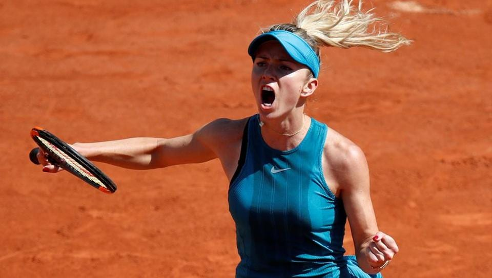 Ukrainian tennis player Elina Svitolina celebrates during her first round match against Australia's Ajla Tomljanovic at the French Open in Paris on Sunday.