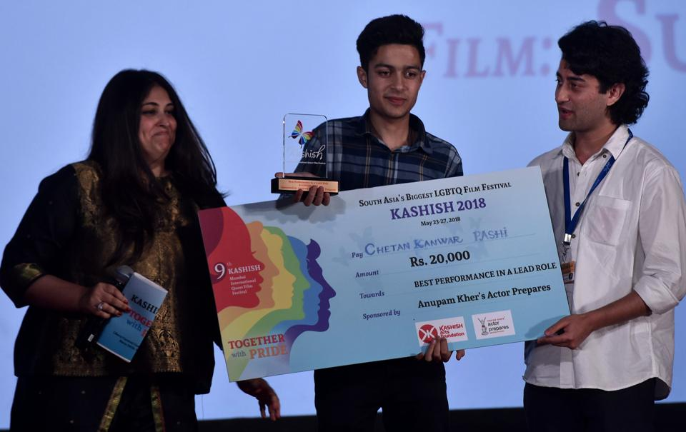 Chetan Kanwar (centre) won an award for playing the lead in Pashi, on the last day of the film festival, on Sunday.