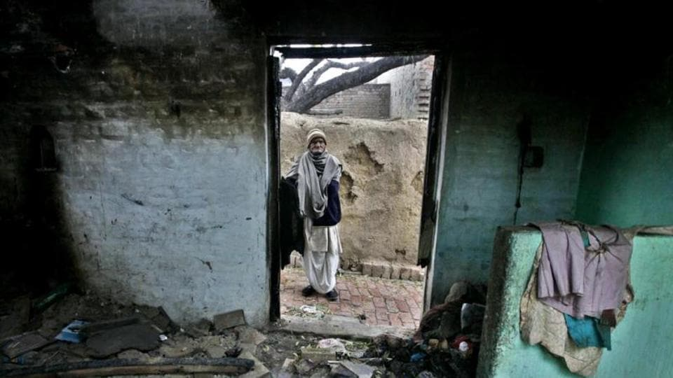 A file photo of a burnt house at Mohammadpur Raisingh village, in Muzaffarnagar.