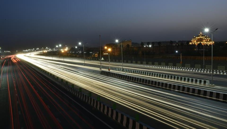 Light trails of Delhi-Meerut Expressway captured in New Delhi on April 25.