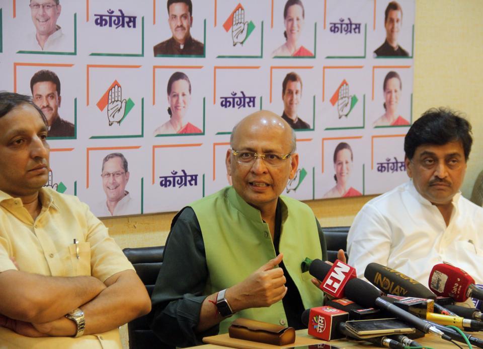 Congress leaders Abhishek Manu Singhvi (left)and Ashok Chavan during the party's press meet on Saturday.
