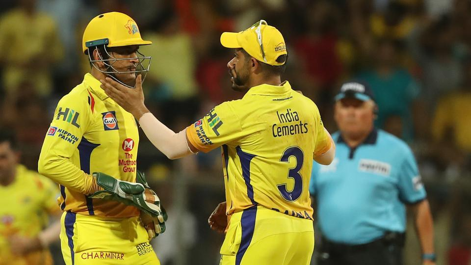 MS Dhoni and Suresh Raina celebrate the wicket of Kane Williamson during the 2018 Indian Premier League (IPL) final between Chennai Super Kings and Sunrisers Hyderabad at the Wankhede Stadium on Sunday.