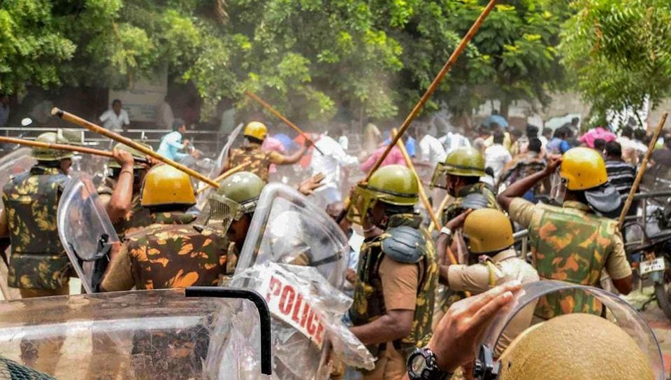 Police personnel baton charge at protestors who were demanding the closure of Vedanta's Sterlite Copper unit, in Tuticorin, on May 23,  2018.