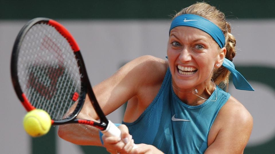 Petra Kvitova returns a shot against Veronica Cepede Royg during their first round match of the French Open on Monday.