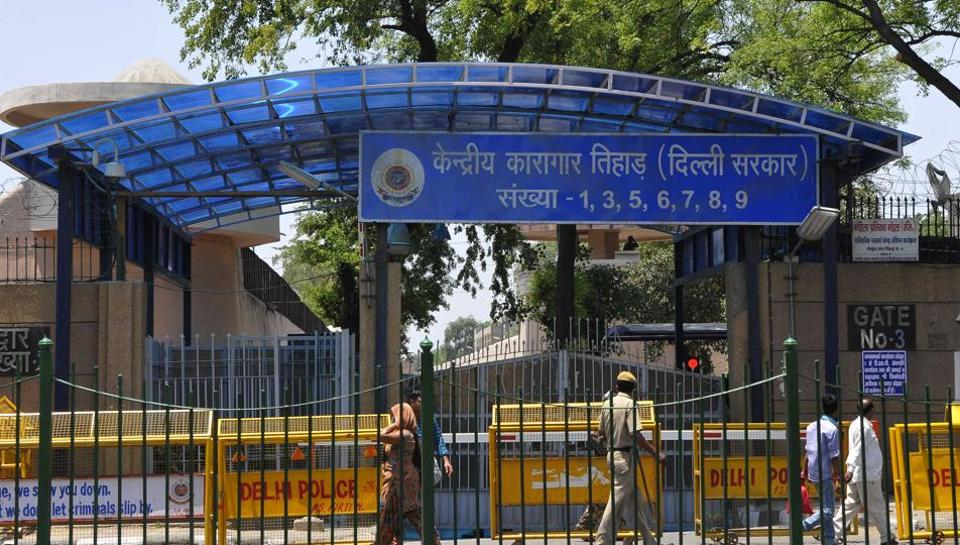 Security personnel guard the Tihar jail in New Delhi.