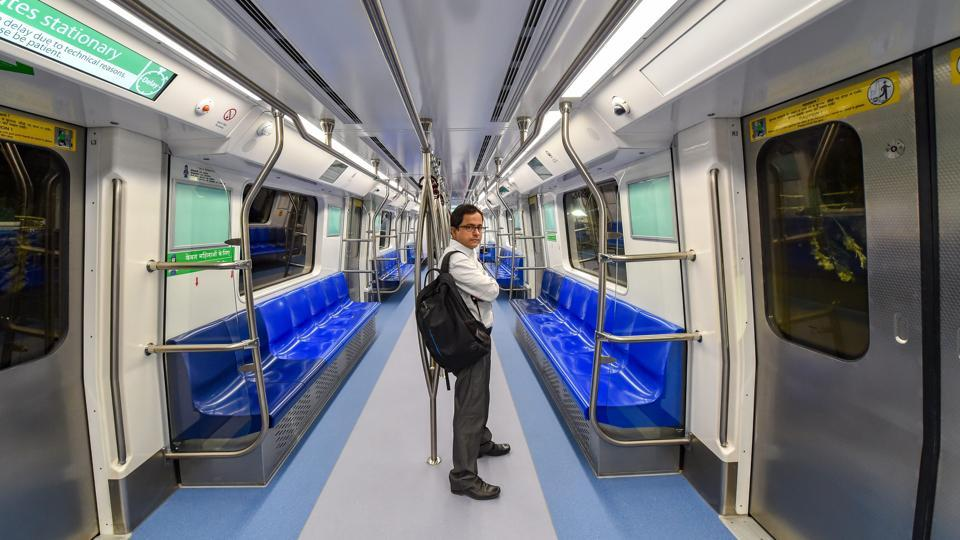 An inside view of a metro train at Nehru Enclave Metro Station during the inauguration of the 24.82 km long Kalkaji Mandir-Janakpuri West stretch of the Delhi Metro's Magenta Line, in New Delhi on Monday.