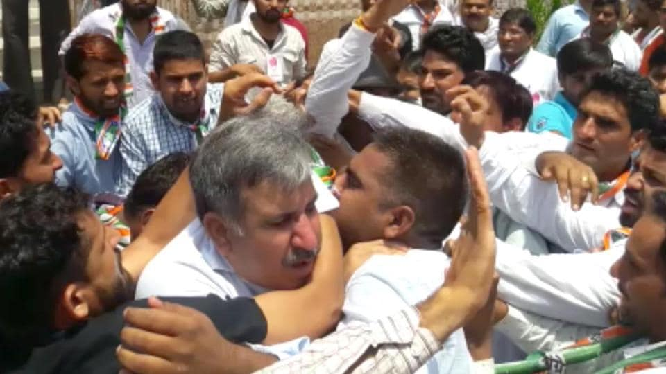 State Congress Kisan Cell president Sandeep Choudhary  was manhandled during a party programme on Friday