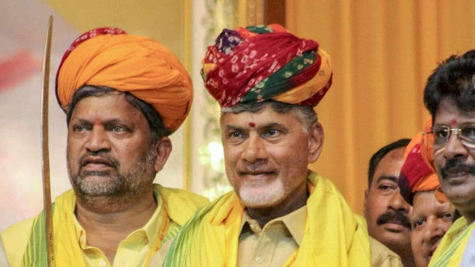 Andhra Pradesh chief minister N Chandrababu Naidu being felicitated by the leaders of Telugu Desam Party during 'Mini Mahandu', in Hyderabad, on Thursday.