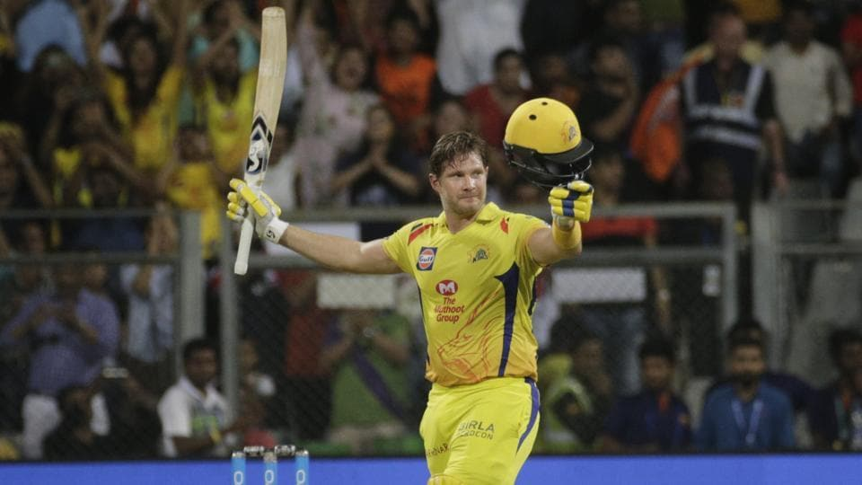 Chennai Super Kings' Shane Watson celebrates after scoring his century against Sunrisers Hyderabad during the IPL 2018 final in Mumbai, India, on May 27, 2018.