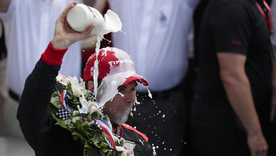 Will Power of Australia celebrates after winning the Indianapolis 500 auto race at Indianapolis Motor Speedway in Indianapolis on Sunday.