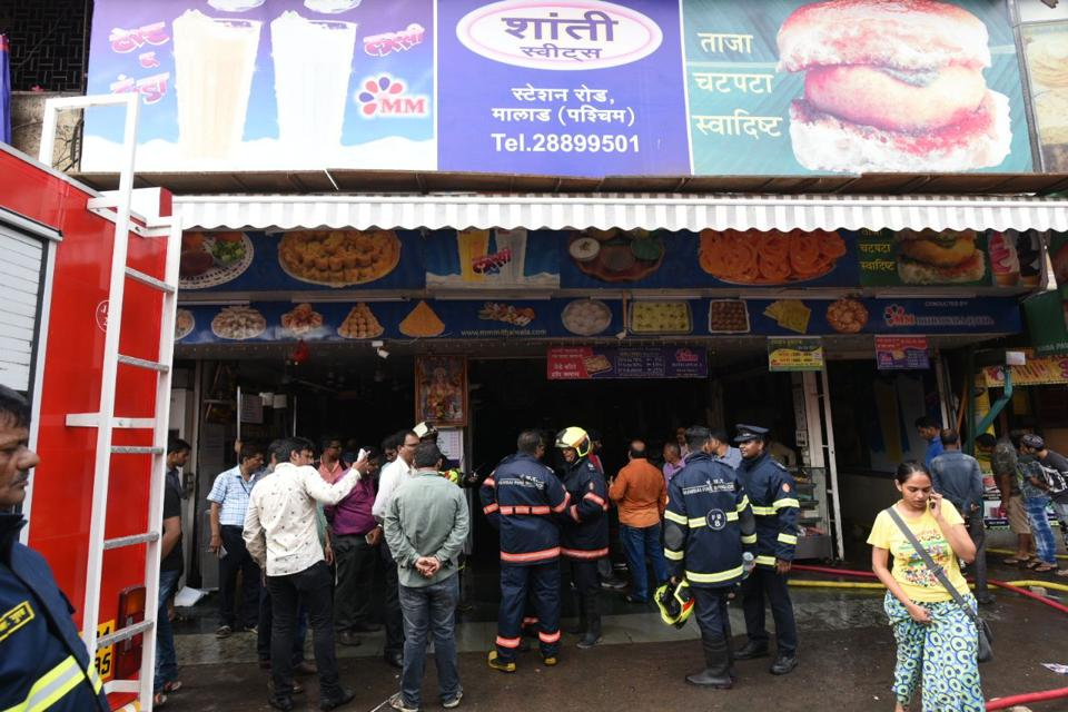 Fire-fighting operations at Gupta Market, near Malad station, on Tuesday.