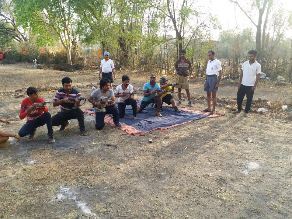 Bajrang Dal, the youth wing of Vishwa Hindu Parishad,  workers being trained in Biora , Rajgarh, Madhya Pradesh to fight against alleged 'anti-nationals and love jehadist', which drew an angry reaction from the Congress.