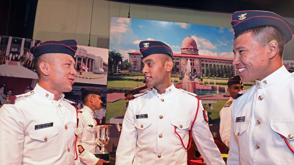 (Left to right) Cadet Ahmad Fahim Muslih, Ibrahim Sadat from Afghanistan and T Zhumanaly from Kazakhstan share a light moment during the convocation ceremony of 134th course of National Defence Academy (NDA) in Pune. (Pratham Gokhale/HT Photo)