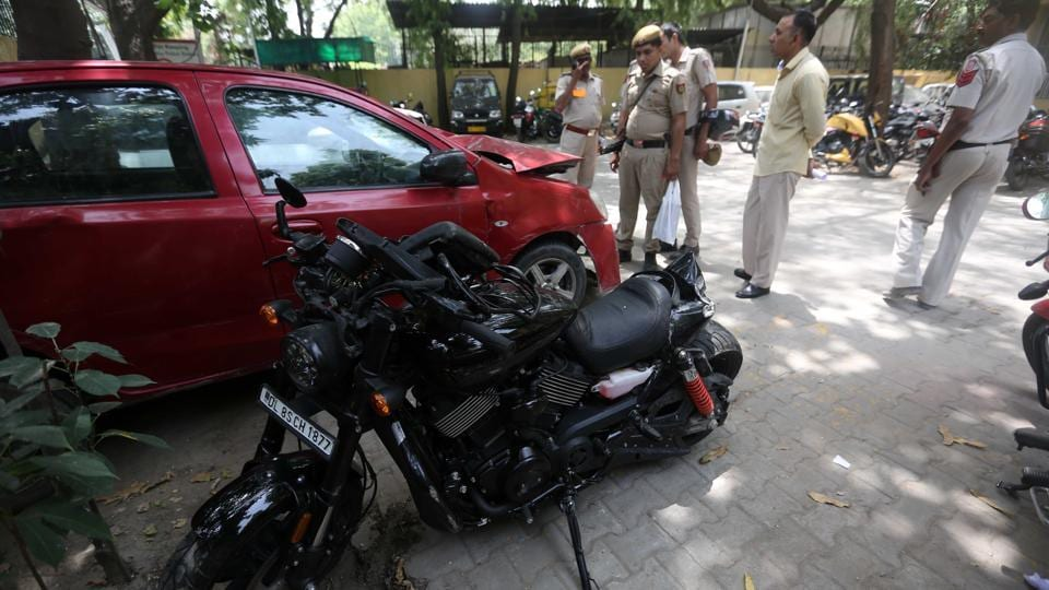 A motorcyclist riding his Harley Davidson is missing since he was hit by a car on the Delhi-Noida-Direct Flyway and believed to have fallen into the Yamuna river.