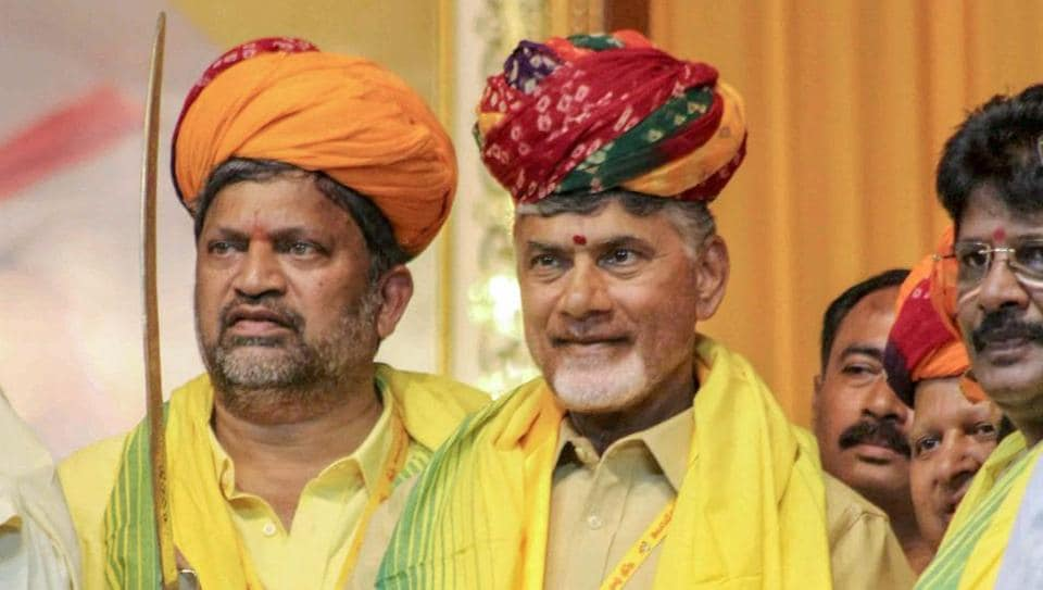 Andhra Pradesh chief minister N Chandrababu Naidu being felicitated by leaders of the Telugu Desam Party during the 'Mini Mahandu' in Hyderabad on Thursday.