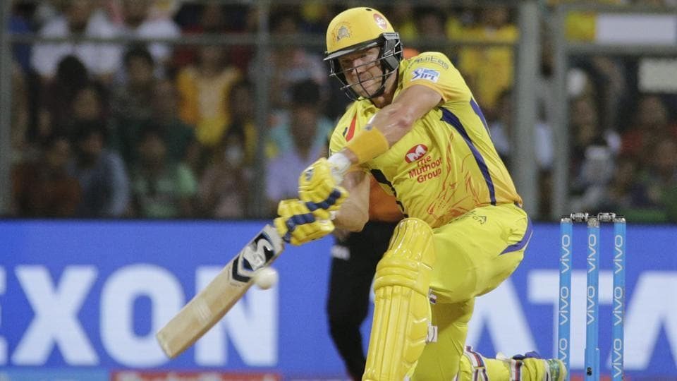 Chennai Super Kings' Shane Watson bats against Sunrisers Hyderabad during the IPL 2018 final in Mumbai, India, on May 27, 2018.