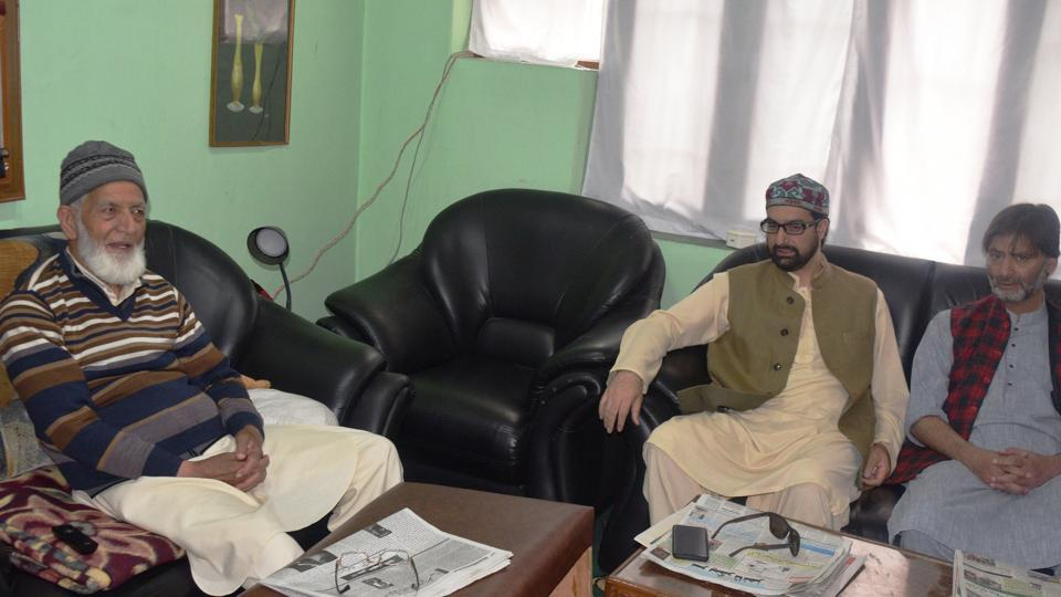 Joint Resistance Leadership Syed Ali Geelani, Mirwaiz Mohammad Umar Farooq and Yasin Malik during a meeting at Hyderpora in Srinagar, Jammu and Kahsmir.