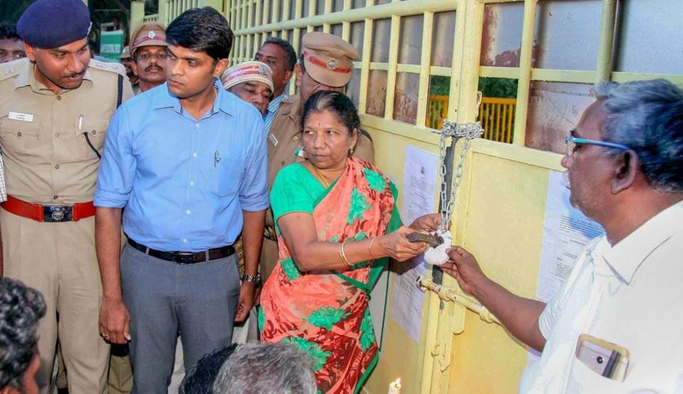 The Sterlite Copper Unit in Tuticorin, Tamil Nadu, being sealed on Monday.