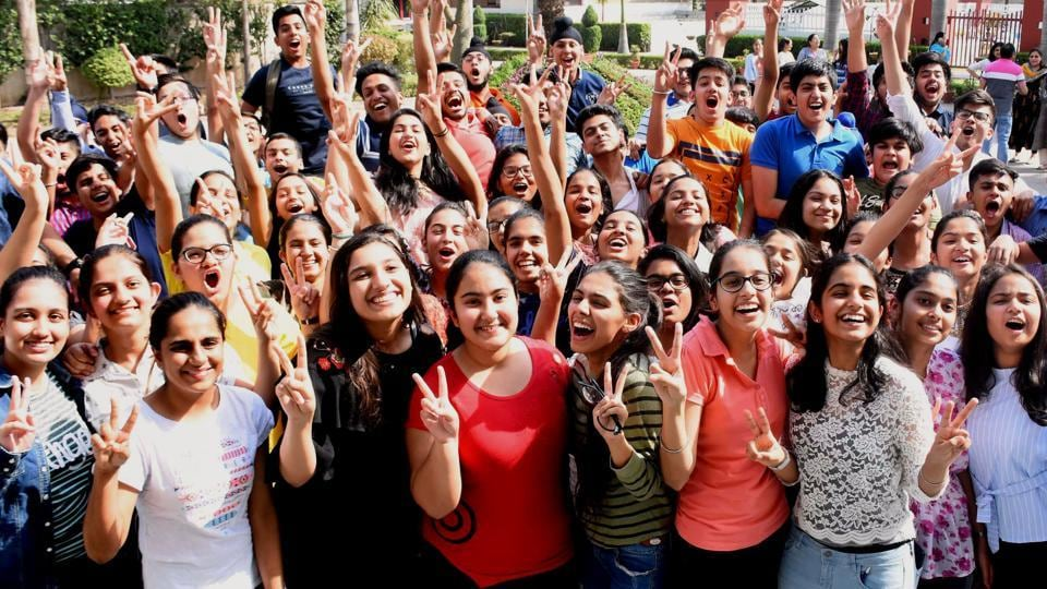 Students celebrate after declaration of the CBSE Class 10 result.