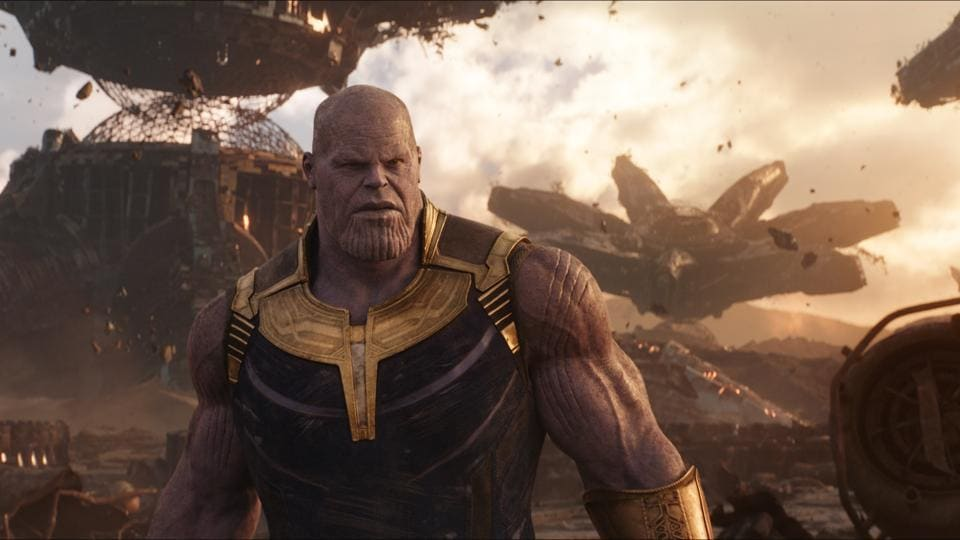 This image released by Disney shows Josh Brolin as Thanos in a scene from Marvel Studios' Avengers: Infinity War.