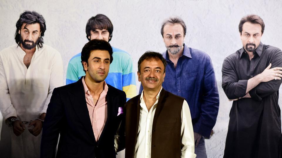 Ranbir Kapoor and Rajkumar Hirani during the teaser launch of Sanju.
