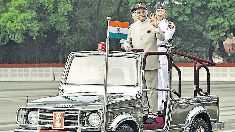 President Ram Nath Kovind reviewing the passing out parade.
